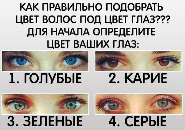 КАК ПРАВИЛЬНО ПОДОБРАТЬ ЦВЕТ ВОЛОС ПОД ЦВЕТ ГЛАЗ??? Для начала определите цвет ваших глаз (голосуем): ⚪ Голубые ⚪ Карие ⚪ Зеленые ⚪ Серые