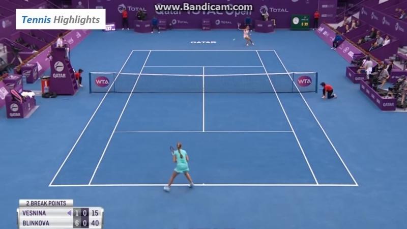 Теннис. WTA. Доха. Веснина Елена Блинкова Анна 0:2 (1:6, 3:6)