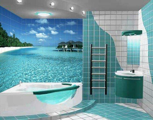 Ванная комната с мечтой о море (1 фото) - картинка