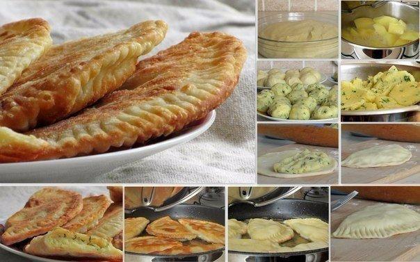 Чебуреки с картофелем и сыром Ингредиенты: Для теста: - 300