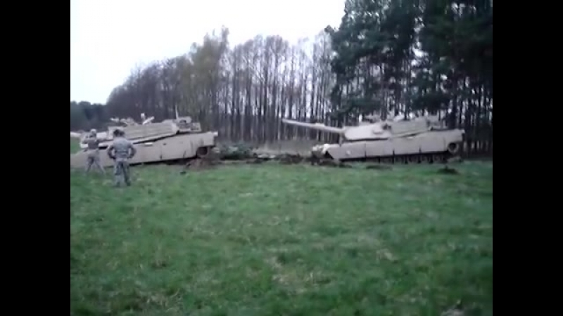 Pulling an M1A1 Abrams out of the mud at the JMTC