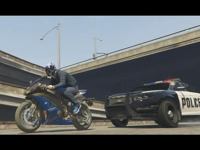Герои нашего города Полицейская машина Купер Погоня за байкером Часть 2 GTA 5 Police car chasing 1
