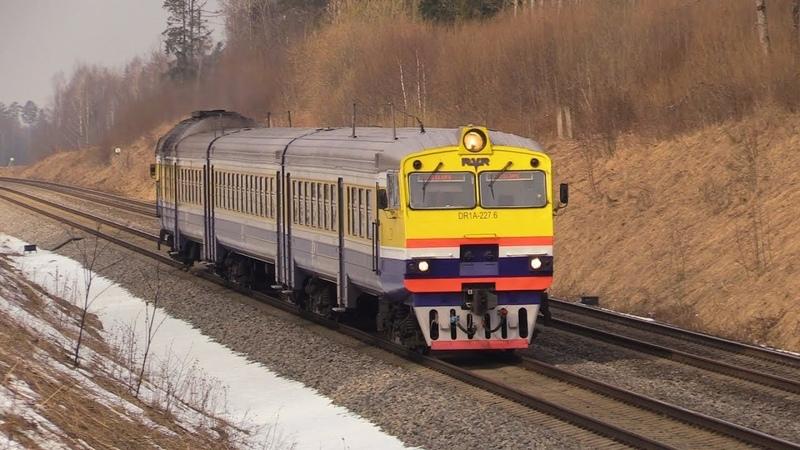 Дизель-поезд ДР1А-227 близ о.п. Алотене / DR1A-227 DMU near Alotene stop