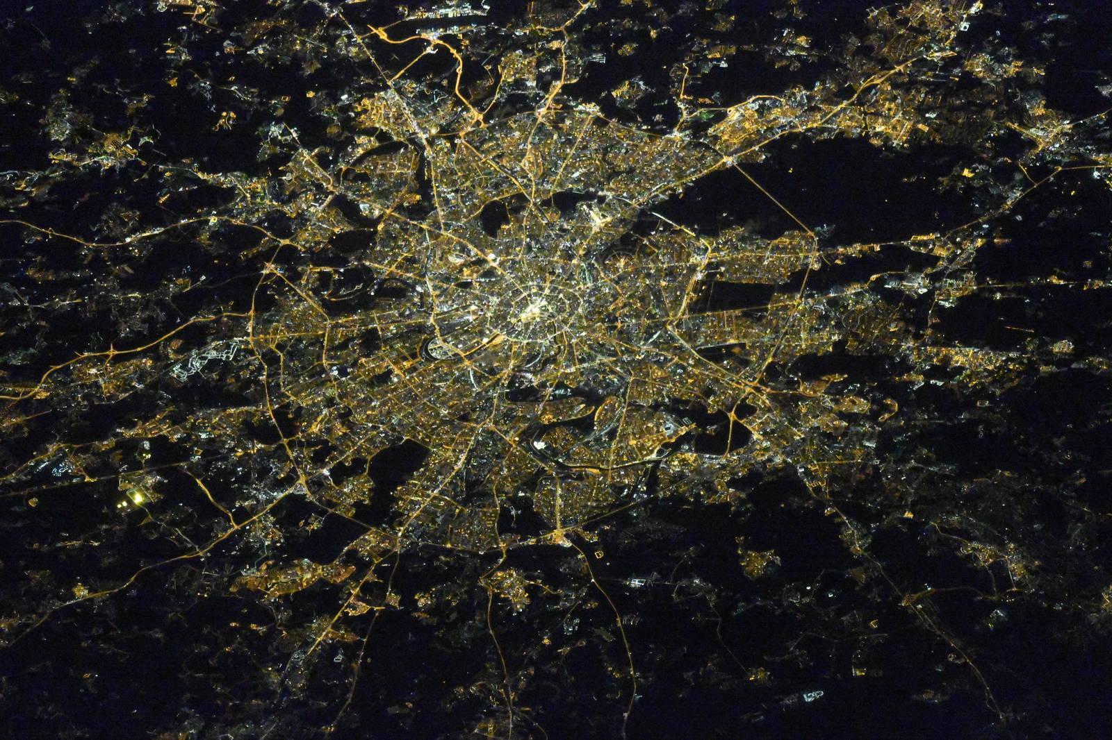Города России ночью. Вид из космоса