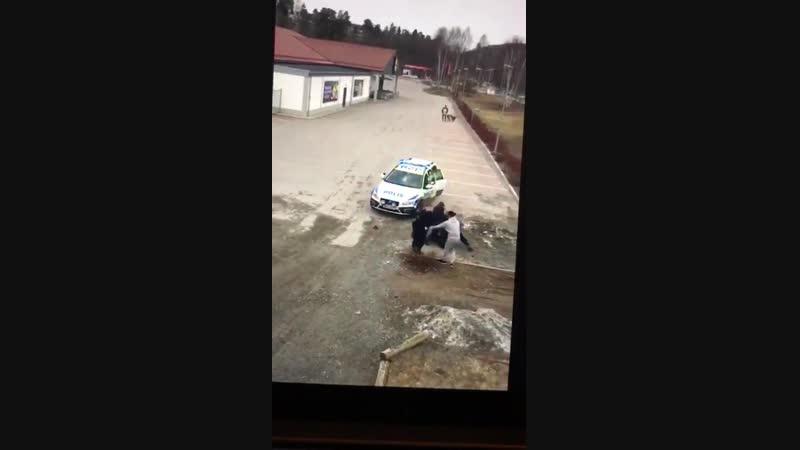 Vier Polizisten bringen einen tobenden Migranten nicht unter Kontrolle!
