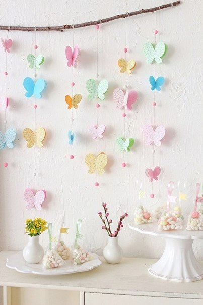 Декор стены бабочками (6 фото)
