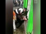 Ребенок рюкзаком бьет полицейского