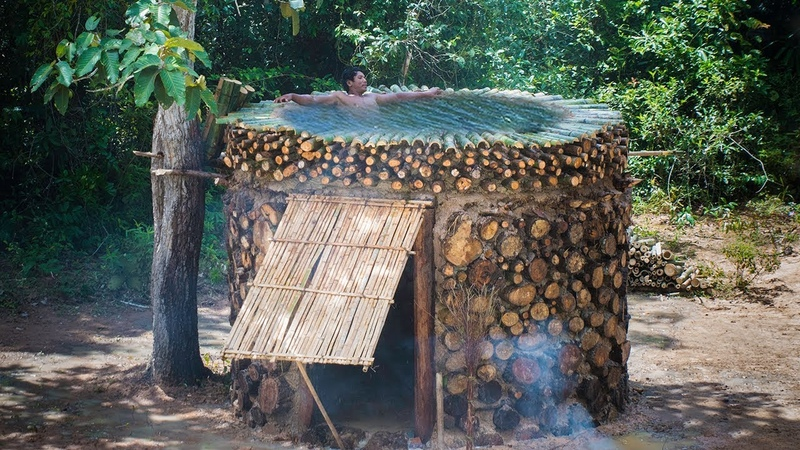 Build Amazing Fire Log Villa House and Rooftop Swimming pool