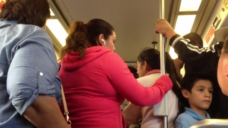 Crowded Los Angeles Metro Blue Line Train ( भीड़ ट्रेन) (قطار مزدحم)