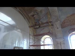 2018 год Ведутся работы по штукатурке внутри храма.