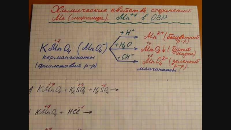 Химические свойства соединений марганца Mn ( 7). Решаем окислительно-восстановительные реакции..mp4