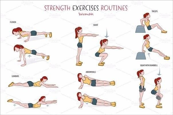 Довольно эффективная тренировка для начинающих. Главное — выполнять все упражнения интенсивно!… (1 фото) - картинка