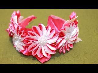 как сделать ободок канзаши цветы из лент видеоурок