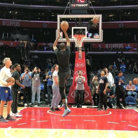 "NBA on Instagram: ""🌪 @easymoneysniper spins through warmups for tonight's @nbatv action in LA! StayBalanced"""