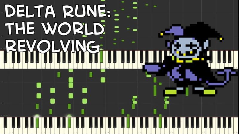 Delta Rune - THE WORLD REVOLVING (Jevil's Theme) Piano Duet Synthesia