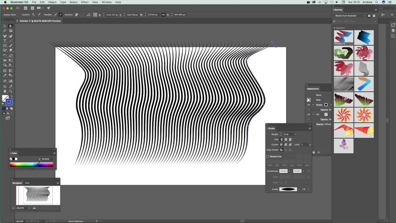 Illustrator blend tool and width profiles and strokes for wave and line designs tutorial