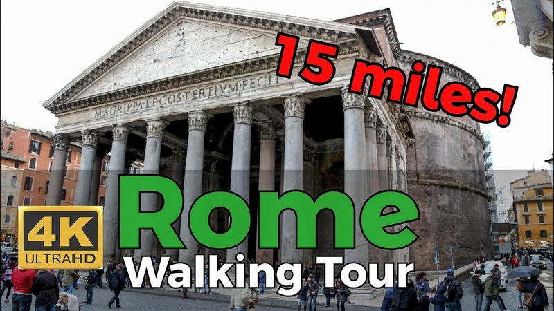 Rome Walking Tour in 4K -15 miles- w/Captions and Titles