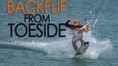 Kiteboard Backflip from Toeside ( pops from toeside)