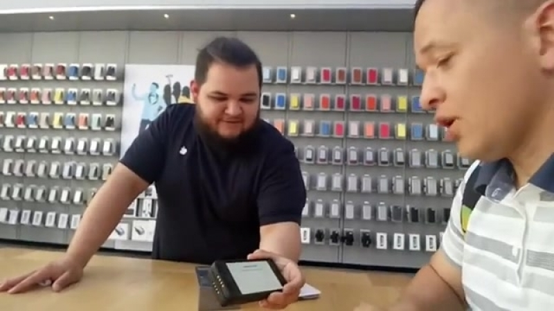 Bying a brand-new iPhone in Stanford Apple store in the USA