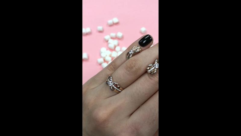 Комплект золотое кольцо и серьги в Голдис mp4