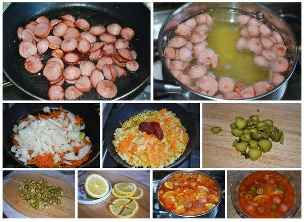Суп-солянка Суп-солянка пошаговый рецепт — очень простой рецепт. Его приготовление занимает минимум времени и сил. Кроме того, в качестве мясного компонента можно использовать то, что есть под рукой: сосиски, сардельки, колбасу различных сортов, говядину или свинину. Смотреть полностью...