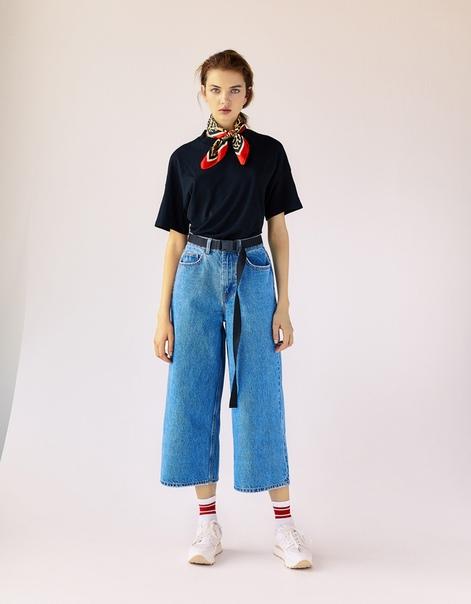 Джинсовые брюки-кюлоты