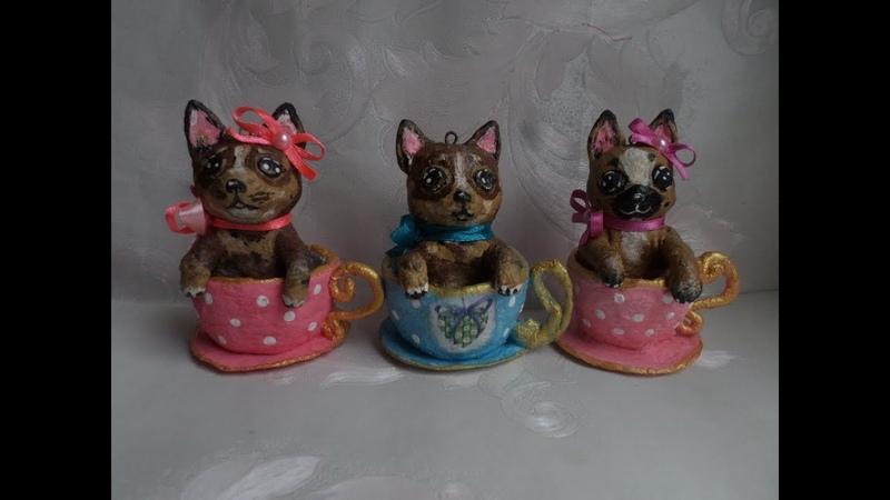 Ватные собачки в кружке, Мастер-Класс-1 часть