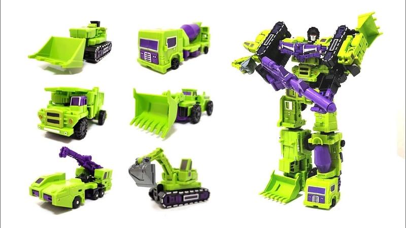 중장비합체 트랜스포머 프라임봇 데바스테이터 6종 합체영상 : Transformers Devastator DX9 KO Weijiang
