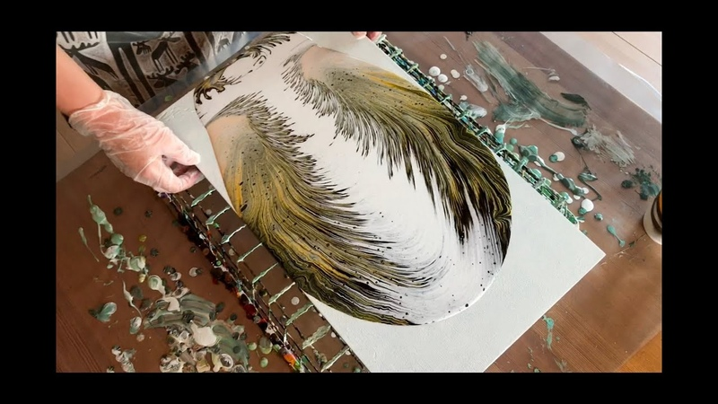 ( 28 ) Fluid Painting - The wing effect, first try - Swirl on Wood