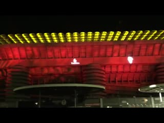 Milan have colored the san siro with red lights ahead of the derbymilano tomorrow. - [via