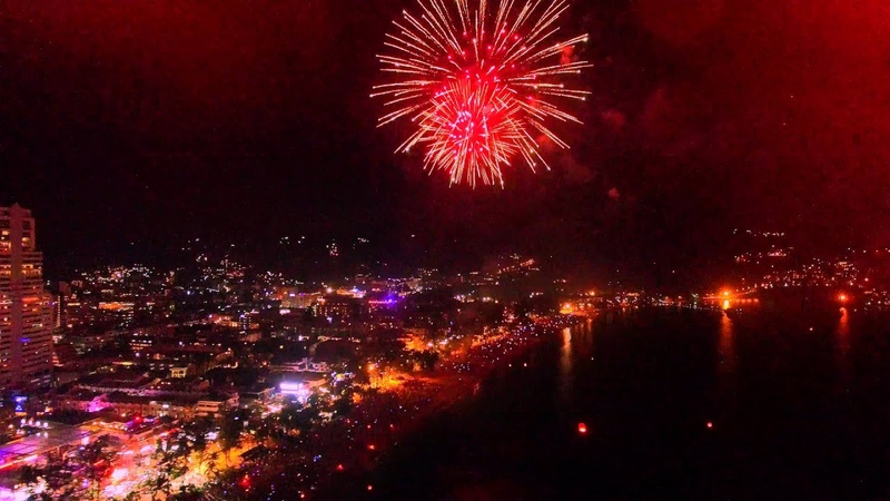 Patong Beach, New Year's Eve 2016 (4K Aerial Video)