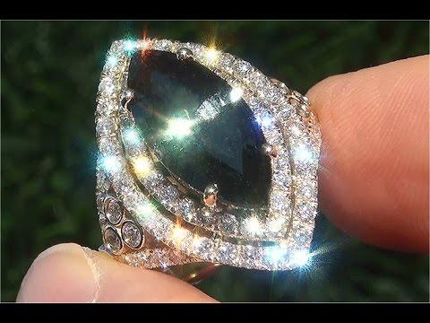 GIA Certified UNHEATED Natural VVS Blue Green Sapphire Diamond 14k Yellow Gold Ring GEM - C183