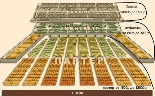 Схема зала и стоимость билетов