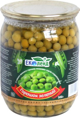 Горошок зелений консервований, Еколенд, 500 г