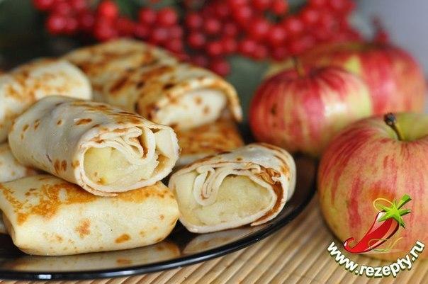 Фото рецепт блинов с яблоками