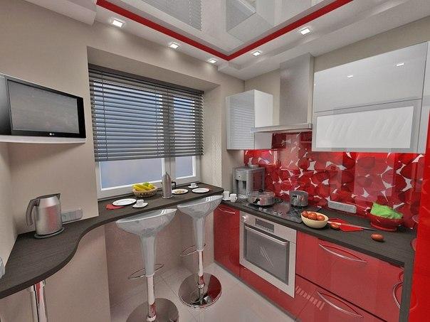Идея для небольшой кухни в современной квартире