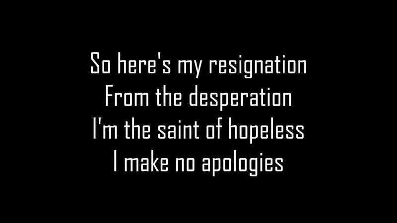 Sum 41 No Apologies (lyric)