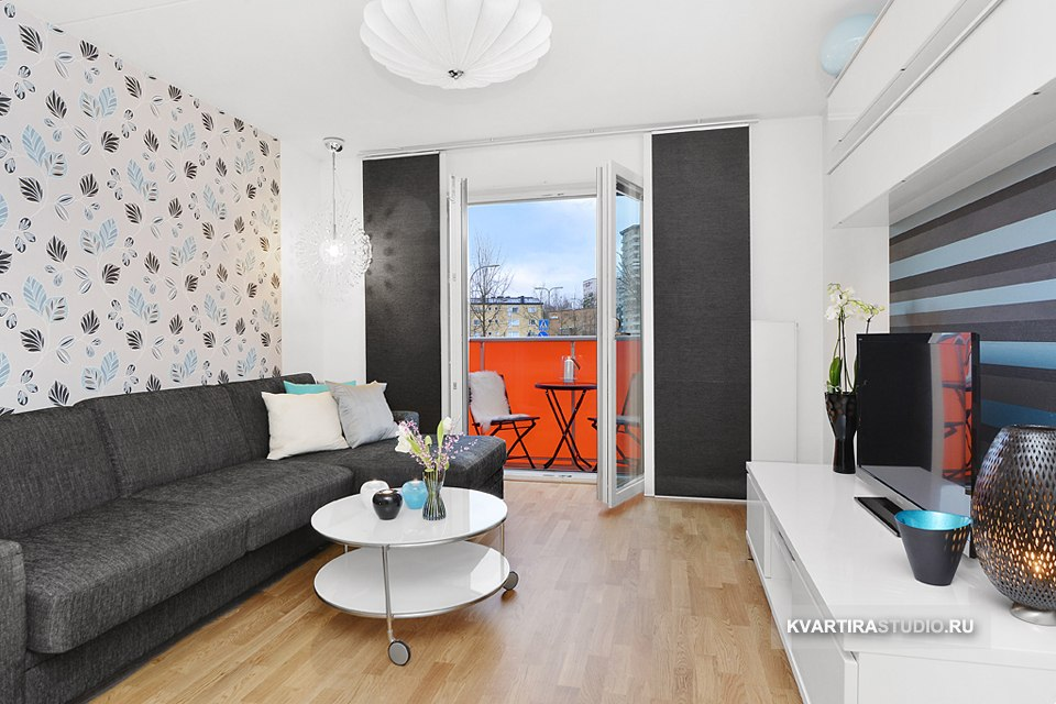 Интерьер длинной студии 32 м с одним окном - http://kvartirastudio.