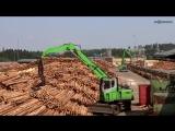 Крупнейшая лесопилка в Европе немецкая Группа Ziegler. Один из девяти перегружателей материала SENNEBOGEN 735 E