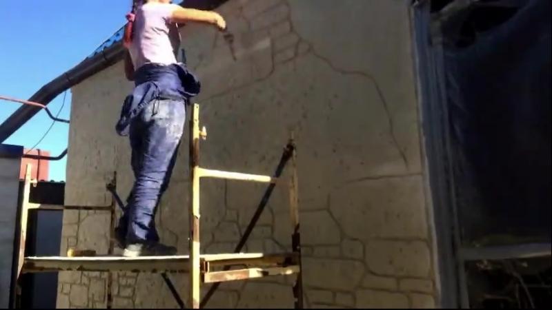 Нарезка под камень - декоративный бетон
