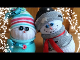 Новогодний снеговик своими руками, очень просто. Xmas handmade sock snowman, cute & easy