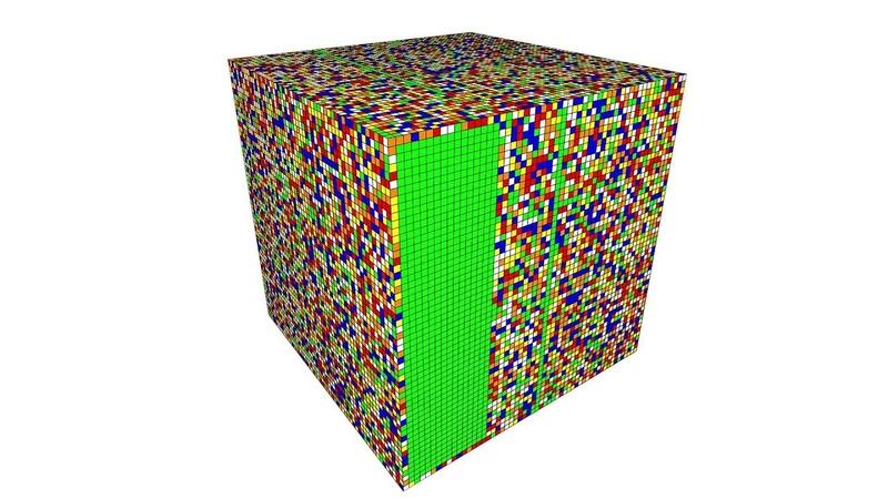 A.I. Solves a 55 x 55 x 55 Rubik's Cube