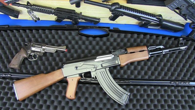 Toy Guns Kalashnikov AK-47 Military Weapons Equipment !! BOX OF TOYS GUNS Video for Kids