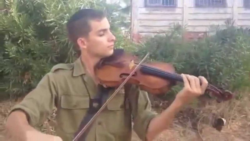Shalom Aleichem on violin from an IDF soldier boy