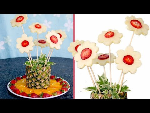 How to make PINEAPPLE and STRAWBERRY FLOWERS | Fruit Carving