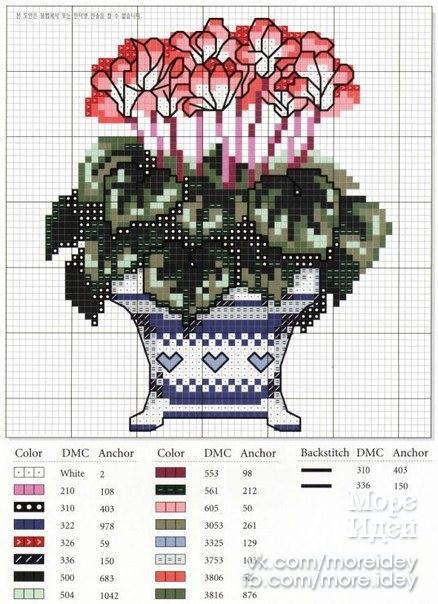 Схемы для вышивки цветы в горшках 68