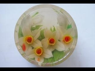 ( https://vk.com/lakomkavk) 3-Д ЖЕЛЕ для декора торта. How to make Gelatin Art daffodils flower