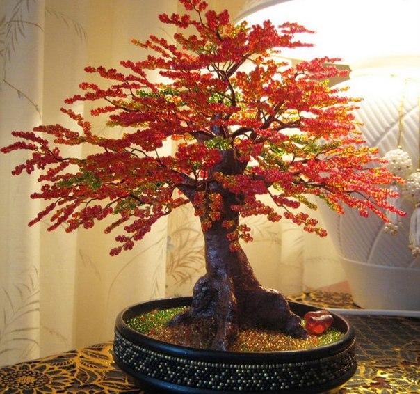 Осенние деревья из бисера своими руками