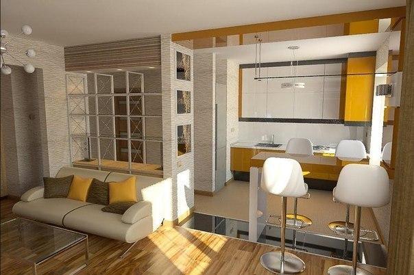 Интерьер студии кухня и гостиная