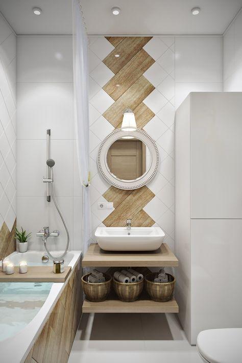 Варианты раскладок плиток с разными цветами и рисунками в ванной комнате.